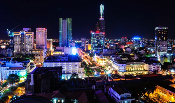 Ho Chin Minh skyline at night